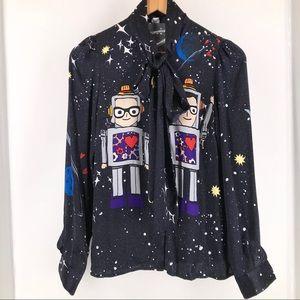 Dolce & Gabbana Space Long Sleeve Silk Blouse